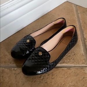 Tory Burch Black Work Leather Flats Loafers Size 6
